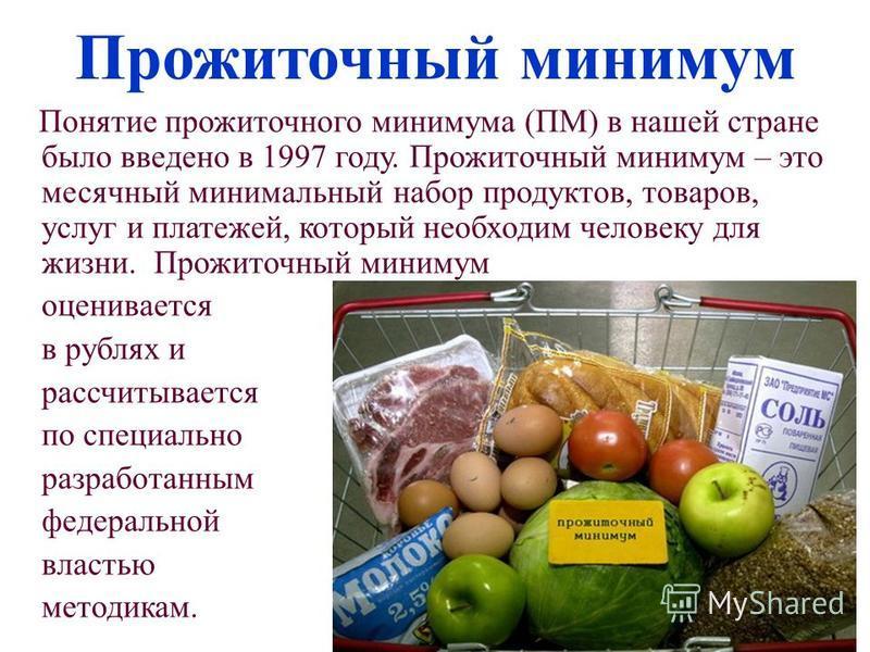 Прожиточный минимум Понятие прожиточного минимума (ПМ) в нашей стране было введено в 1997 году. Прожиточный минимум – это месячный минимальный набор продуктов, товаров, услуг и платежей, который необходим человеку для жизни. Прожиточный минимум оцени