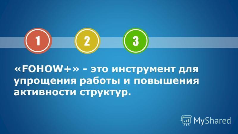 «FOHOW+» - это инструмент для упрощения работы и повышения активности структур. 1 2 3