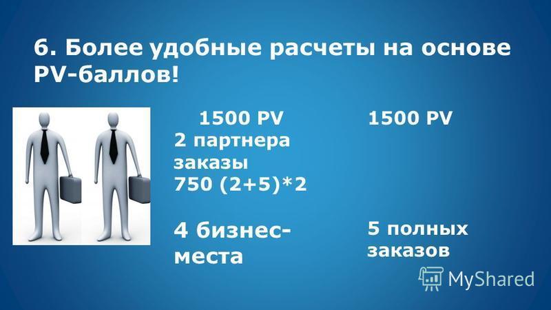6. Более удобные расчеты на основе PV-баллов! 1500 PV 2 партнера заказы 750 (2+5)*2 4 бизнес- места 1500 PV 5 полных заказов