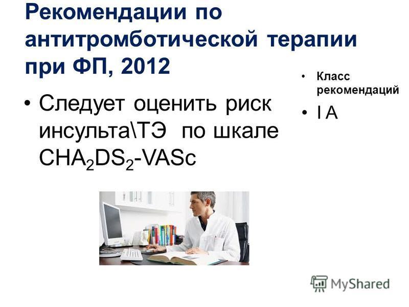 Рекомендации по антитромботической терапии при ФП, 2012 Следует оценить риск инсульта\ТЭ по шкале CHA 2 DS 2 -VASc Класс рекомендаций I A
