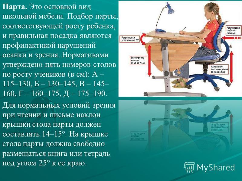 Парта. Это основной вид школьной мебели. Подбор парты, соответствующей росту ребенка, и правильная посадка являются профилактикой нарушений осанки и зрения. Нормативами утверждено пять номеров столов по росту учеников (в см): А – 115–130, Б – 130–145