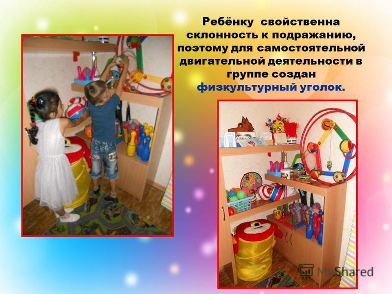 Ребёнку свойственна склонность к подражанию, поэтому для самостоятельной двигательной деятельности в группе создан физкультурный уголок.