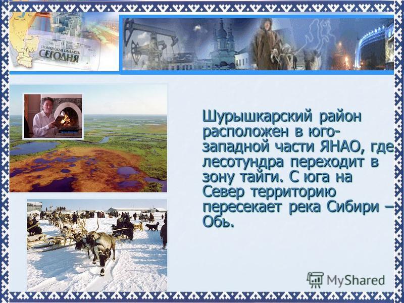 Шурышкарский район расположен в юго- западной части ЯНАО, где лесотундра переходит в зону тайги. С юга на Север территорию пересекает река Сибири – Обь. Шурышкарский район расположен в юго- западной части ЯНАО, где лесотундра переходит в зону тайги.
