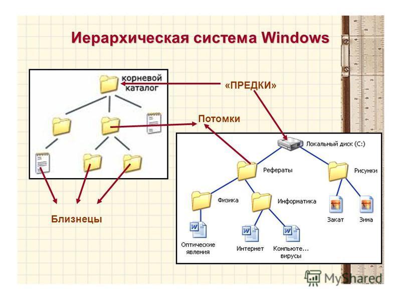 Иерархическая система Windows «ПРЕДКИ» Близнецы Потомки