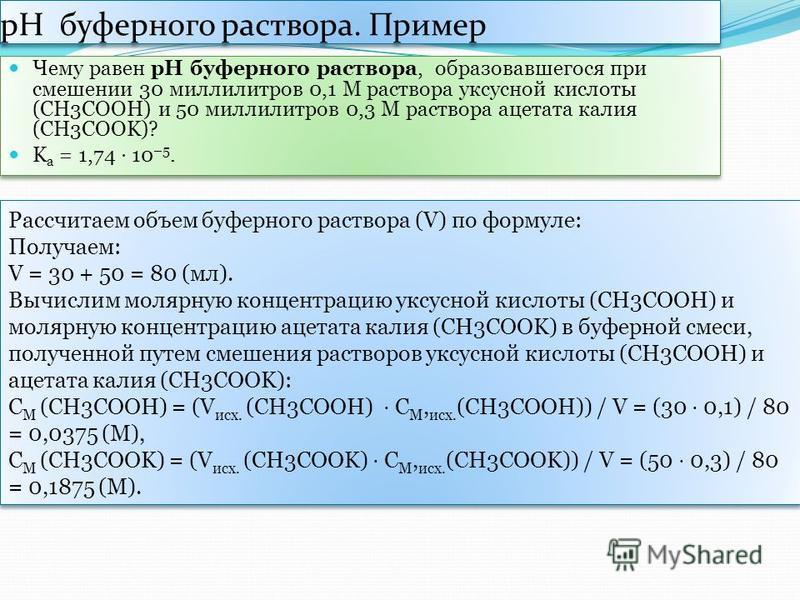 рН буферного раствора. Пример Чему равен рН буферного раствора, образовавшегося при смешении 30 миллилитров 0,1 М раствора уксусной кислоты (СН3СООН) и 50 миллилитров 0,3 М раствора ацетата калия (СН3СООK)? K а = 1,74 10 –5. Чему равен рН буферного р