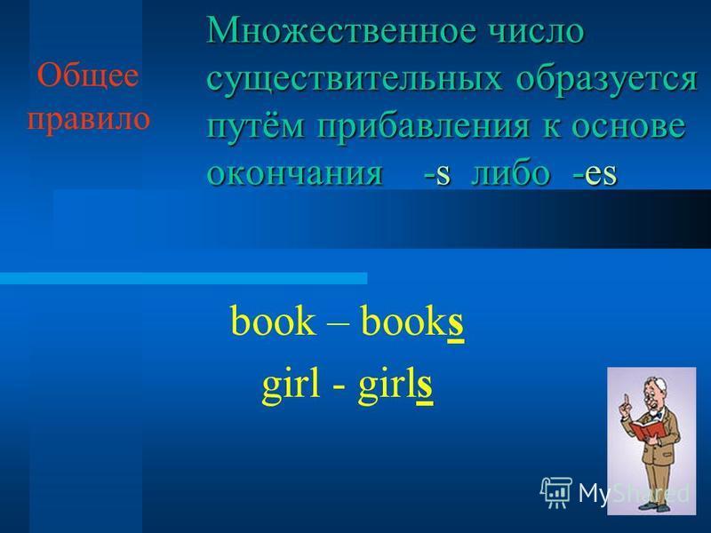 Множественное число существительных образуется путём прибавления к основе окончания -s либо -es book – books girl - girls Общее правило