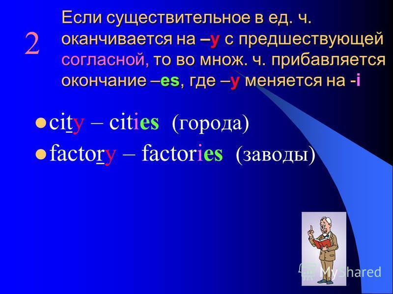 Если существительное в ед. ч. оканчивается на –y с предшествующей согласной, то во множ. ч. прибавляется окончание –es, где –y меняется на -i city – cities (города) factory – factories (заводы) 2