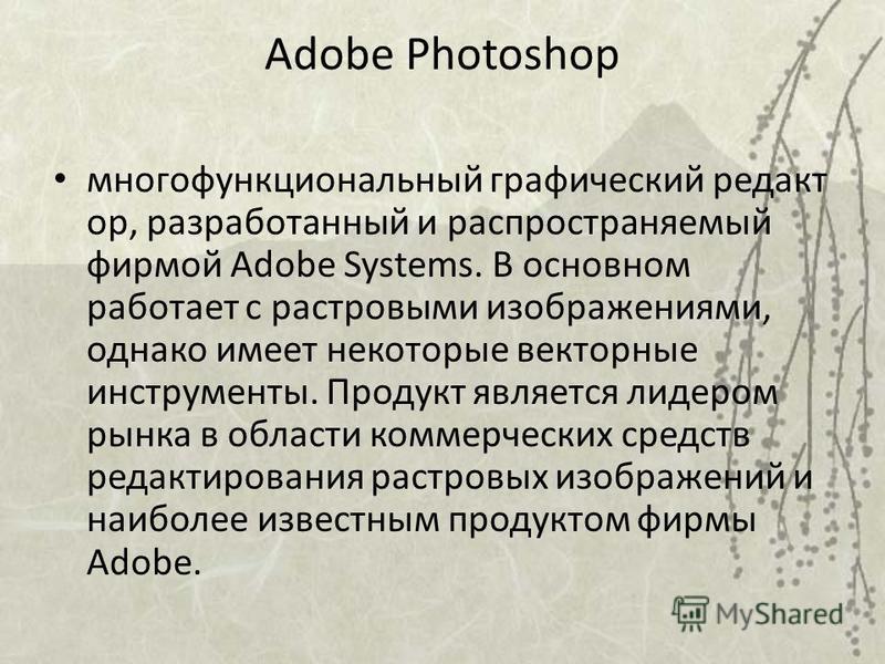 многофункциональный графический редакт ор, разработанный и распространяемый фирмой Adobe Systems. В основном работает с растровыми изображениями, однако имеет некоторые векторные инструменты. Продукт является лидером рынка в области коммерческих сред