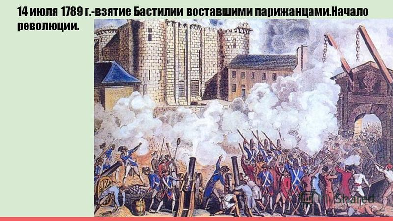14 июля 1789 г.-взятие Бастилии восставшими парижанцами.Начало революции.