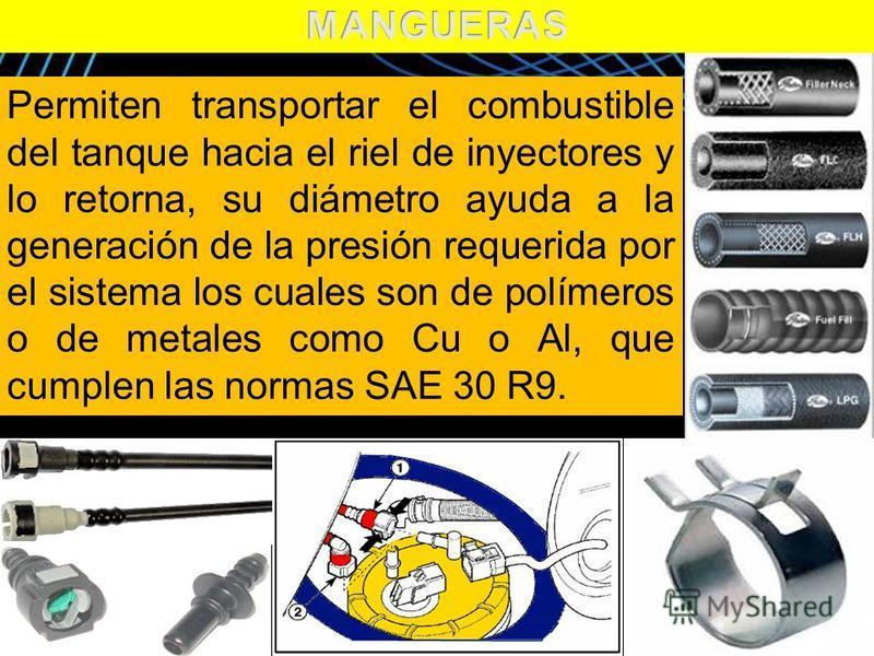 Page 13 Permiten transportar el combustible del tanque hacia el riel de inyectores y lo retorna, su diámetro ayuda a la generación de la presión requerida por el sistema los cuales son de polímeros o de metales como Cu o Al, que cumplen las normas SA