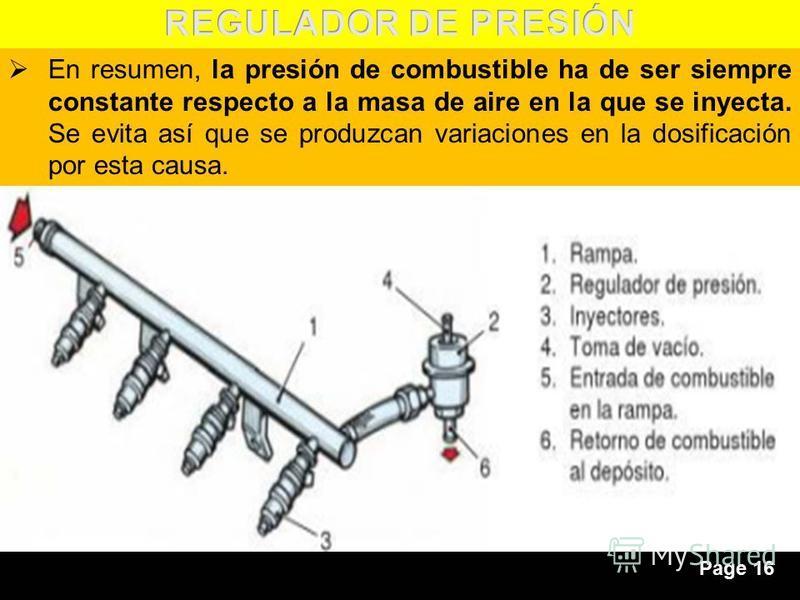 Page 16 En resumen, la presión de combustible ha de ser siempre constante respecto a la masa de aire en la que se inyecta. Se evita así que se produzcan variaciones en la dosificación por esta causa.