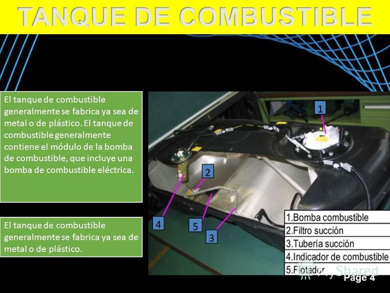 Page 4 El tanque de combustible generalmente se fabrica ya sea de metal o de plástico. El tanque de combustible generalmente contiene el módulo de la bomba de combustible, que incluye una bomba de combustible eléctrica. El tanque de combustible gener