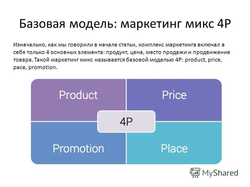 Базовая модель: маркетинг микс 4Р Изначально, как мы говорили в начале статьи, комплекс маркетинга включал в себя только 4 основных элемента: продукт, цена, место продажи и продвижение товара. Такой маркетинг микс называется базовой моделью 4Р: produ