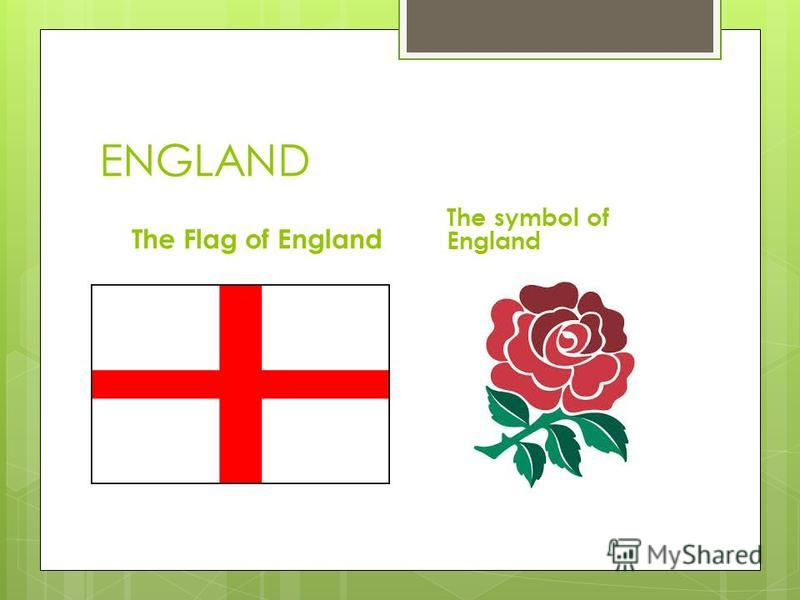 ENGLAND The Flag of England The symbol of England