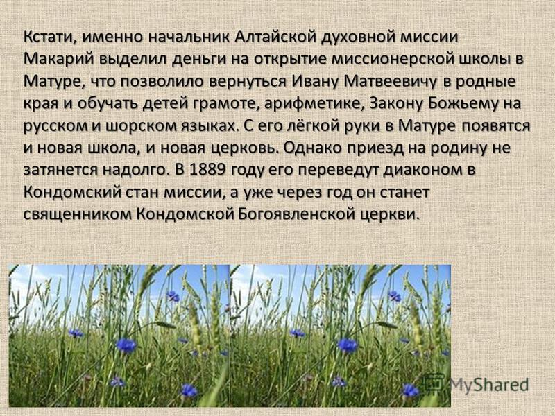 Кстати, именно начальник Алтайской духовной миссии Макарий выделил деньги на открытие миссионерской школы в Матуре, что позволило вернуться Ивану Матвеевичу в родные края и обучать детей грамоте, арифметике, Закону Божьему на русском и шорском языках