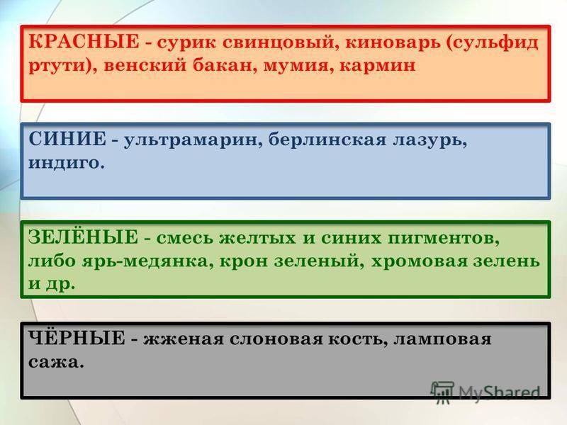 КРАСНЫЕ - сурик свинцовый, киноварь (сульфид ртути), венский бакан, мумия, кармин СИНИЕ - ультрамарин, берлинская лазурь, индиго. ЗЕЛЁНЫЕ - смесь желтых и синих пигментов, либо ярь-медянка, крон зеленый, хромовая зелень и др. ЧЁРНЫЕ - жженая слоновая