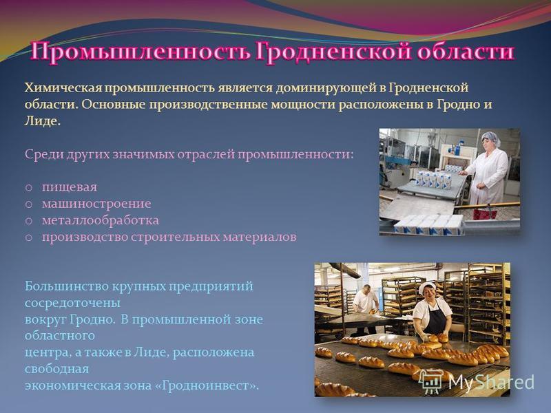 Химическая промышленность является доминирующей в Гродненской области. Основные производственные мощности расположены в Гродно и Лиде. Среди других значимых отраслей промышленности: o пищевая o машиностроение o металлообработка o производство строите