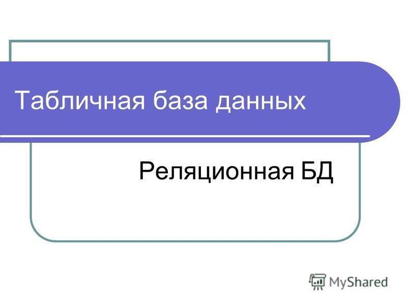 Табличная база данных Реляционная БД