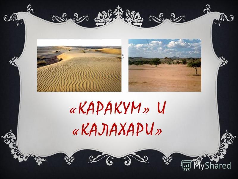 «КАРАКУМ» И «КАЛАХАРИ»