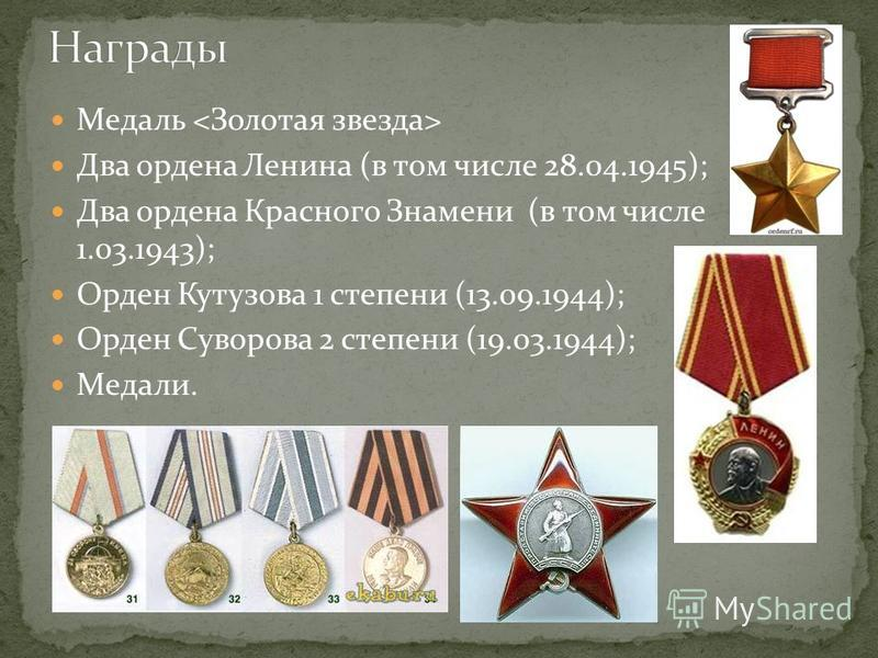 Медаль Два ордена Ленина (в том числе 28.04.1945); Два ордена Красного Знамени (в том числе 1.03.1943); Орден Кутузова 1 степени (13.09.1944); Орден Суворова 2 степени (19.03.1944); Медали.