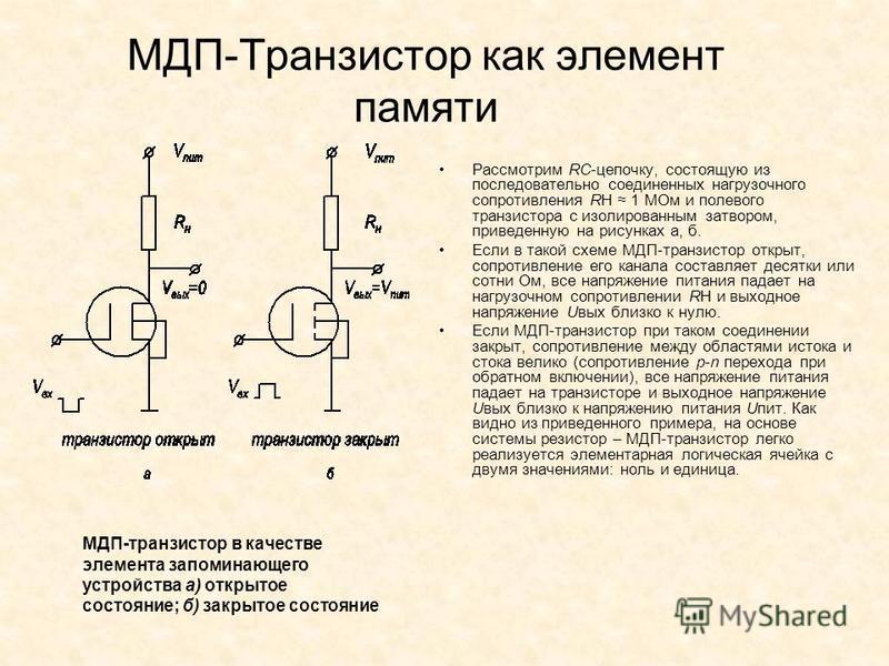МДП-Транзистор как элемент памяти Рассмотрим RC цепочку, состоящую из последовательно соединенных нагрузочного сопротивления RH 1 МОм и полевого транзистора с изолированным затвором, приведенную на рисунках а, б. Если в такой схеме МДП-транзистор отк