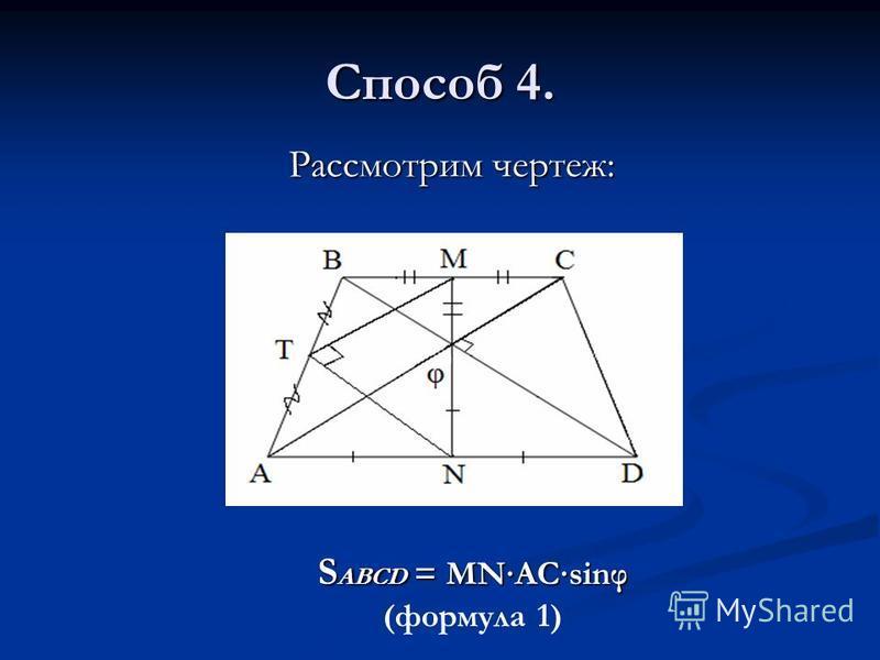Способ 4. Рассмотрим чертеж: Рассмотрим чертеж: S ABCD = MNACsinφ (формула 1)