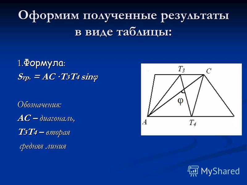 Оформим полученные результаты в виде таблицы: 1. Формула : S тр. = AC T 3 T 4 sinφ Обозначения: AC – диагональ, T 3 T 4 – вторая средняя линия средняя линия