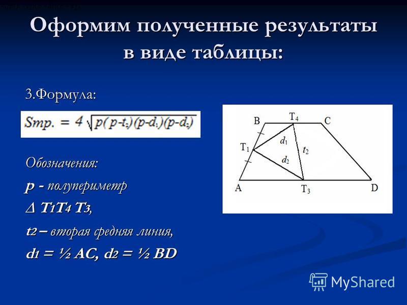 Оформим полученные результаты в виде таблицы: 3.Формула:Обозначения: p - полупериметр T 1 T 4 T 3, T 1 T 4 T 3, t 2 – вторая средняя линия, d 1 = ½ AC, d 2 = ½ BD