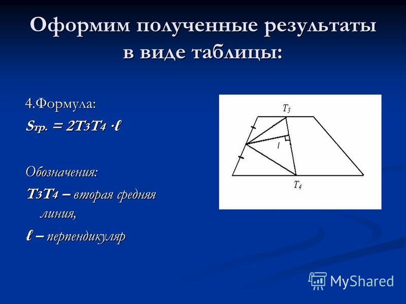 Оформим полученные результаты в виде таблицы: 4.Формула: S тр. = 2T 3 T 4 S тр. = 2T 3 T 4 Обозначения: T 3 T 4 – вторая средняя линия, – перпендикуляр – перпендикуляр
