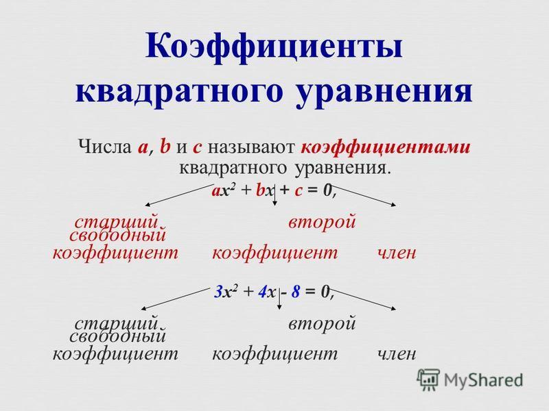 Числа а, b и с называют коэффициентами квадратного уравнения. ах 2 + bx + c = 0, старший второй свободный коэффициент коэффициент член 3 х 2 + 4x - 8 = 0, старший второй свободный коэффициент коэффициент член Коэффициенты квадратного уравнения
