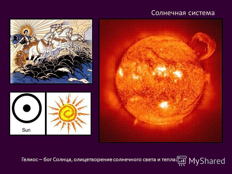 Солнечная система Гелиос – бог Солнца, олицетворение солнечного света и тепла