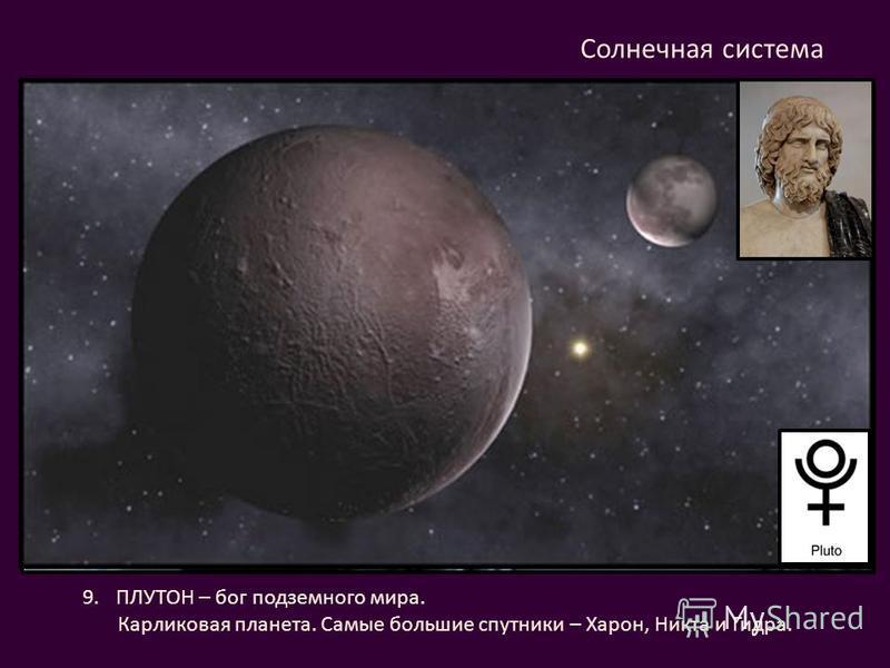 9. ПЛУТОН – бог подземного мира. Карликовая планета. Самые большие спутники – Харон, Никта и Гидра. Солнечная система