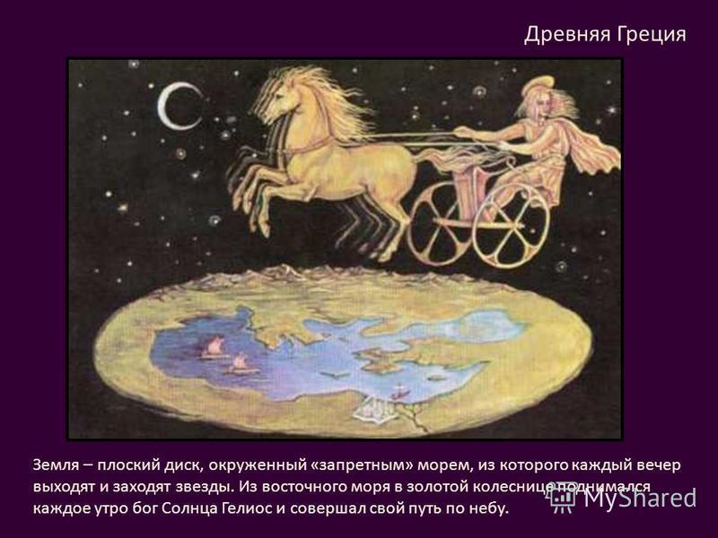 Древняя Греция Земля – плоский диск, окруженный «запретным» морем, из которого каждый вечер выходят и заходят звезды. Из восточного моря в золотой колеснице поднимался каждое утро бог Солнца Гелиос и совершал свой путь по небу.