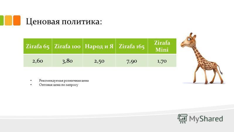 Ценовая политика: Zirafa 65Zirafa 100Народ и ЯZirafa 165 Zirafa Mini 2,603,802,507,901,70 Рекомендуемая розничная цена Оптовая цена по запросу