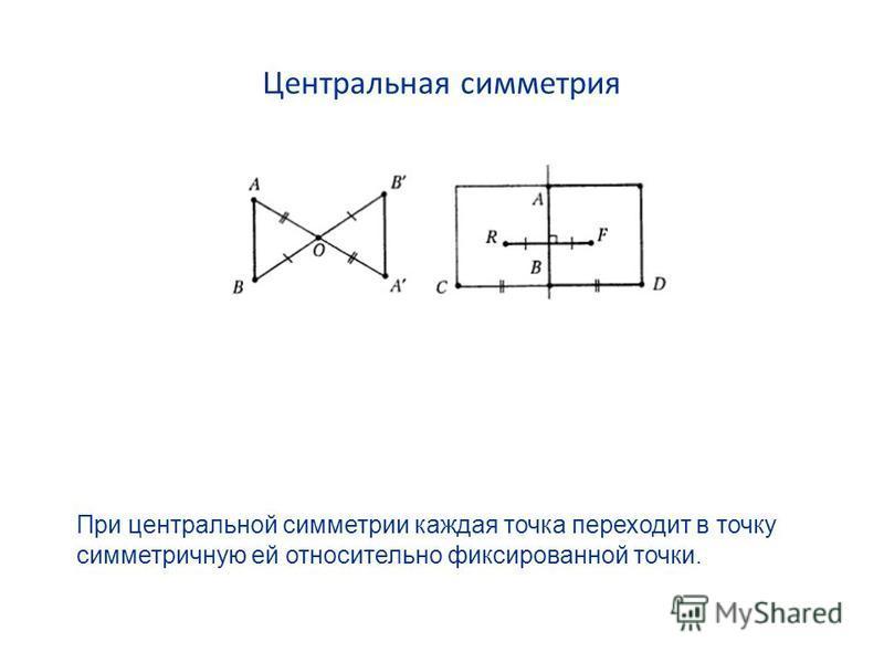 Центральная симметрия При центральной симметрии каждая точка переходит в точку симметричную ей относительно фиксированной точки.