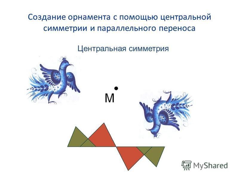 Создание орнамента с помощью центральной симметрии и параллельного переноса Центральная симметрия