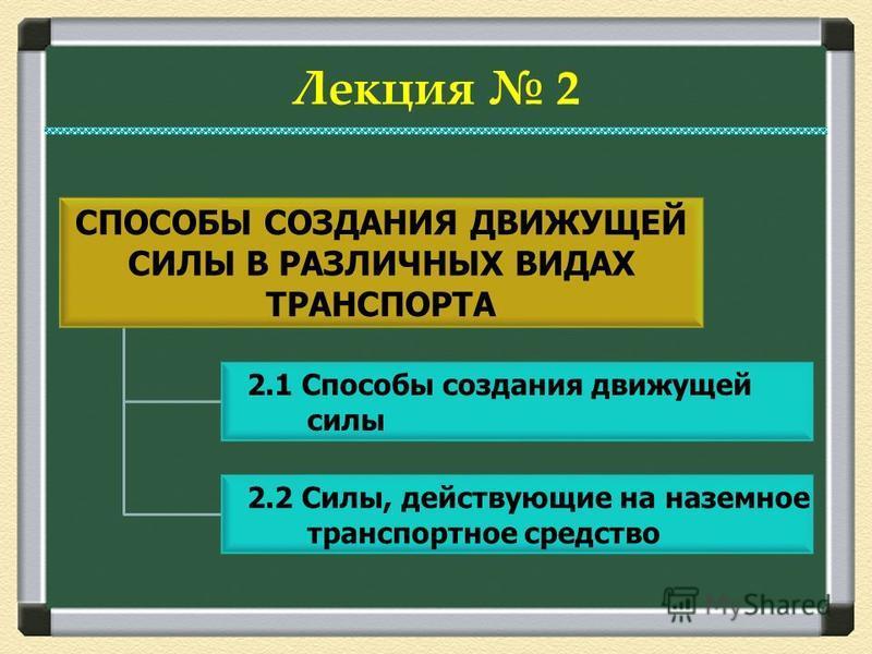 2.1 Способы создания движущей силы 2.2 Силы, действующие на наземное транспортное средство Лекция 2