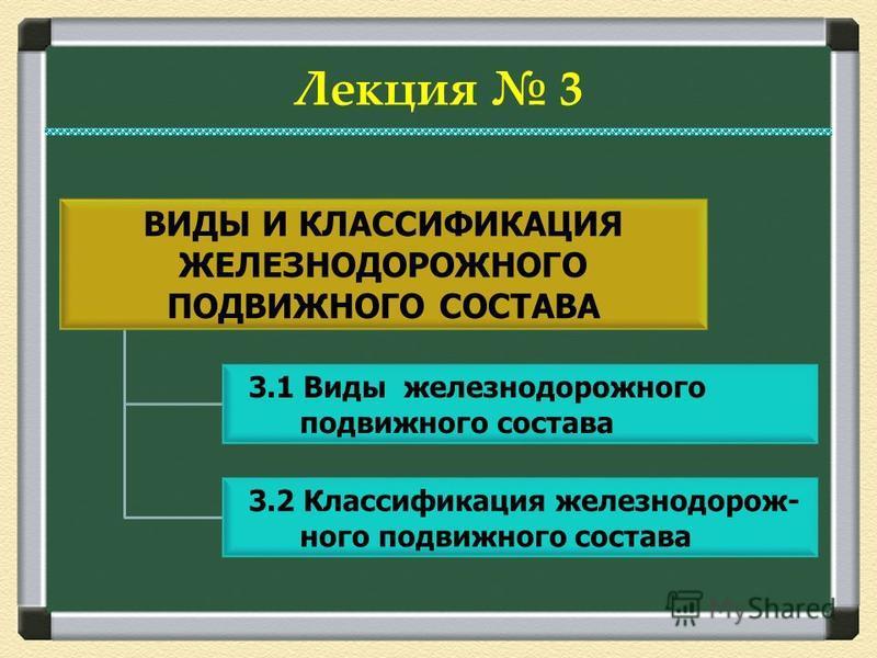 3.1 Виды железнодорожного подвижного состава 3.2 Классификация железнодорожного подвижного состава Лекция 3