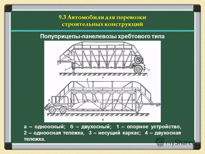9.3 Автомобили для перевозки строительных конструкций Полуприцепы-панелевозы хребтового типа а – одноосный; б – двухосный; 1 – опорное устройство, 2 – одноосная тележка, 3 – несущий каркас; 4 – двухосная тележка.