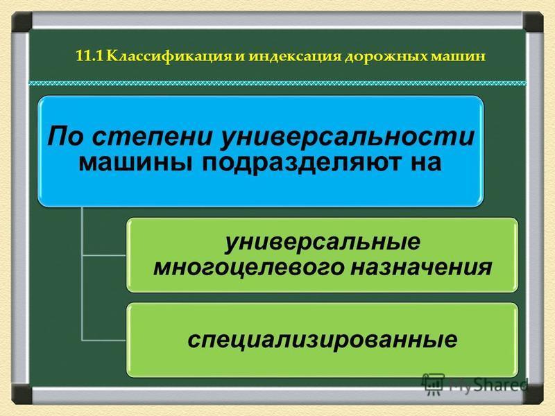 11.1 Классификация и индексация дорожных машин По степени универсальности машины подразделяют на универсальные многоцелевого назначения специализированные
