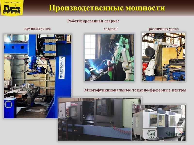 Производственные мощности ходовой крупных узлов Роботизированная сварка: различных узлов Многофункциональные токарно-фрезерные центры