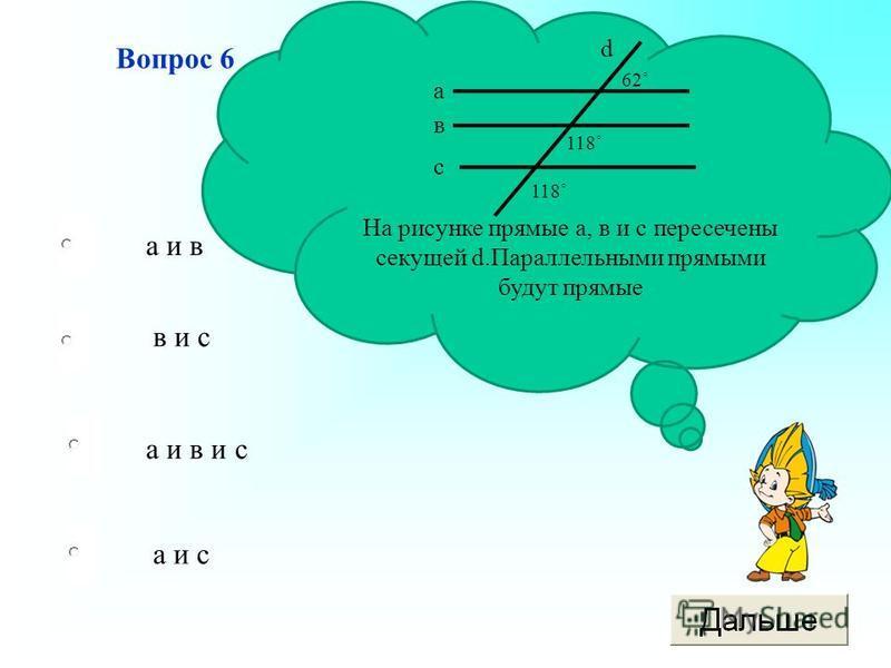 а и в и с в и с а и с а и в Вопрос 6 На рисунке прямые а, в и с пересечены секущей d.Параллельными прямыми будут прямые а в с d 62˚ 118˚