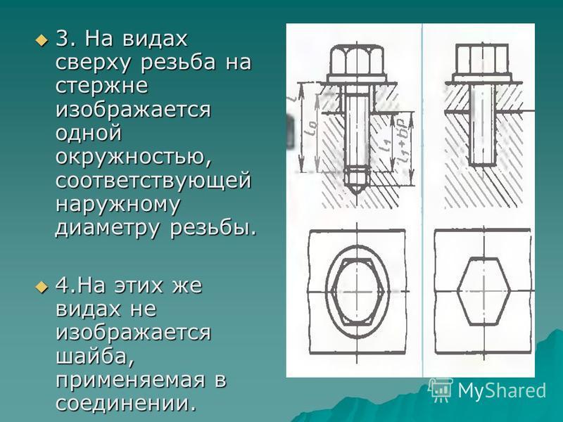 3. На видах сверху резьба на стержне изображается одной окружностью, соответствующей наружному диаметру резьбы. 3. На видах сверху резьба на стержне изображается одной окружностью, соответствующей наружному диаметру резьбы. 4. На этих же видах не изо
