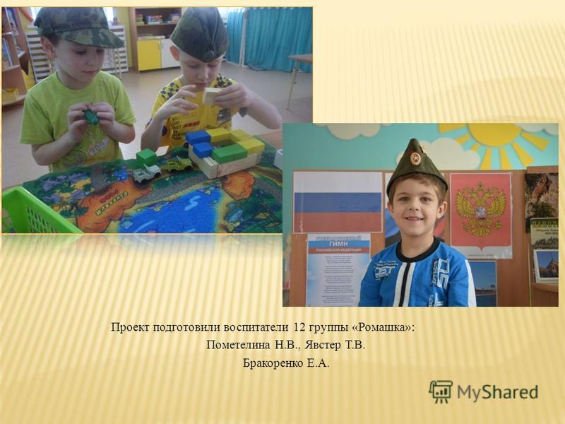 Проект подготовили воспитатели 12 группы «Ромашка»: Пометелина Н.В., Явстер Т.В. Бракоренко Е.А.