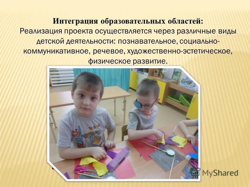 Интеграция образовательных областей: Реализация проекта осуществляется через различные виды детской деятельности: познавательное, социально- коммуникативное, речевое, художественно-эстетическое, физическое развитие.