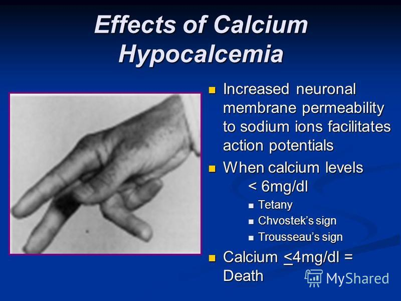 Effects of Calcium Hypocalcemia Increased neuronal membrane permeability to sodium ions facilitates action potentials When calcium levels < 6mg/dl Tetany Chvosteks sign Trousseaus sign Calcium <4mg/dl = Death