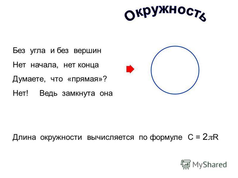 Без угла и без вершин Нет начала, нет конца Думаете, что «прямая»? Нет! Ведь замкнута она Длина окружности вычисляется по формуле С = 2 π R