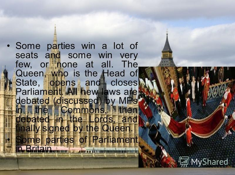 Some parties win a lot of seats and some win very few, or none at all. The Queen, who is the Head of State, opens and closes Parliament. All new laws are debated (discussed) by MPs in the Commons, then debated in the Lords, and finally signed by the