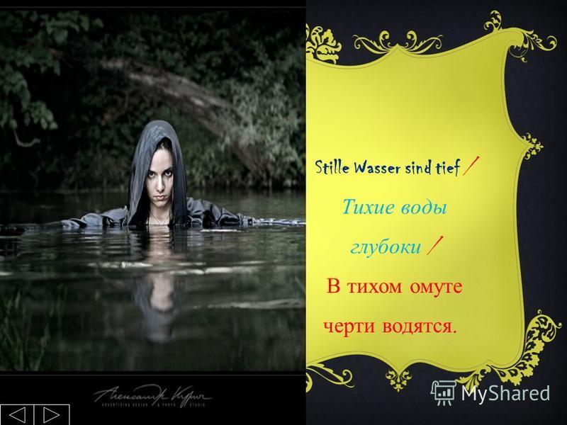 Stille Wasser sind tief / Тихие воды глубоки / В тихом омуте черти водятся.
