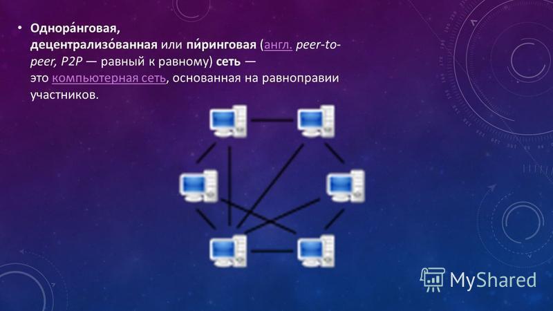 Однора́нговая, децентрализо́ванная или пи́ринговая (англ. peer-to- peer, P2P равный к равному) сеть это компьютерная сеть, основанная на равноправии участников.англ.компьютерная сеть